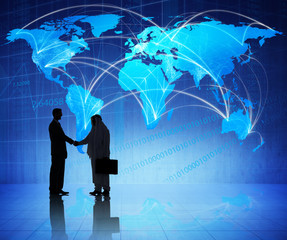 Multiethnic Businessmen Shaking Hands with Global Communications