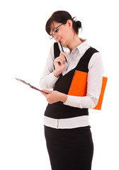 Young businesswoman with clipboard, white background.