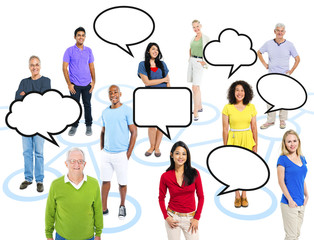 Multi-Ethnic People Connection With Speech Bubbles