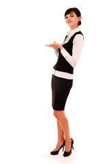 Businesswoman with coffee, full lenght, white background