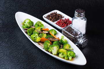 broccoli fry with mushroom and carrot