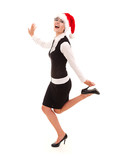 Christmas businesswoman dancing with joy, full lenght