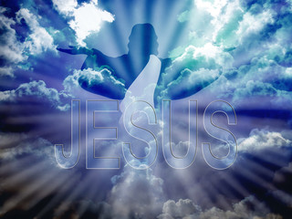 Jesus Christ in blue sky and word Jesus