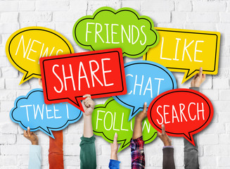 Diverse Hands Holding Speech Bubbles Social Media Concept