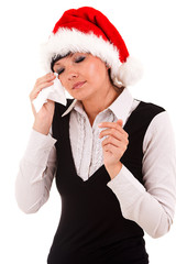 Christmas businesswomans with tissue, white background