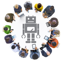 Multiethnic People Using Digital Devices with Robot