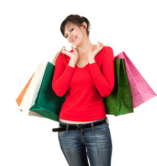 shopping woman with colourful bags, white background