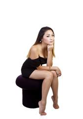 Asian American Woman Little Black Dress Sitting