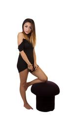 Asian American Woman Little Black Dress Standing