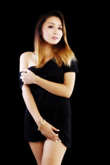 Attracitve Asian American Woman Black Dress