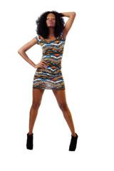 Young Teen Black Girl Short Dress Standing