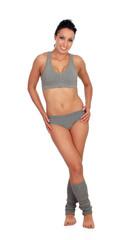 Sexy fitness woman with grey underwear