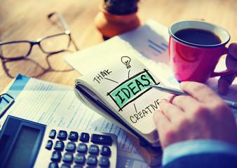 Businessman Writing Ideas Creative Concept