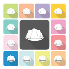Construction helmet Icon color set vector illustration