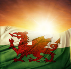 Welsh flag and sky