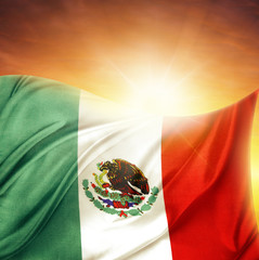 Mexican flag and sky