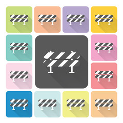 Road barrier Icon color set vector illustration