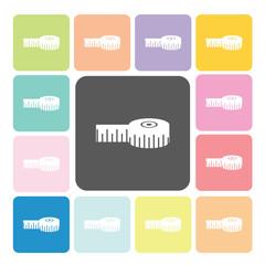 Tape measure Icon color set vector illustration