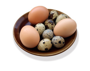 eggs of the quail and three of the hen on the plate isolated