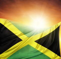 Jamaican flag and sky