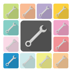Wrench Icon color set vector illustration