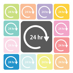24 hours Icon color set vector illustration.