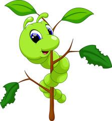 Funny caterpillar runs on a tree branch