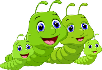 Cute family worm cartoon