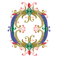 Colorful English alphabets - plant style - Letter O
