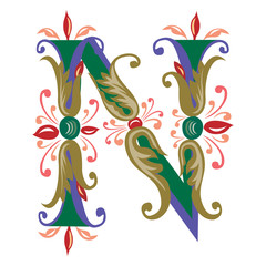 Colorful English alphabets - plant style - Letter N
