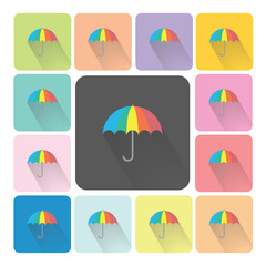 Umbrella Icon color set vector illustration.