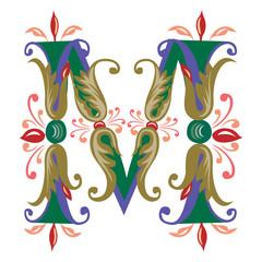 Colorful English alphabets - plant style - Letter M