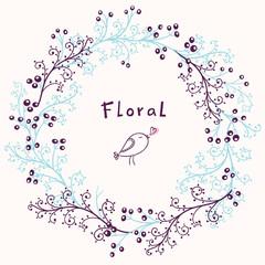 Floral frame. Vector background