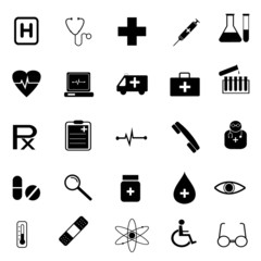 Medical and science international service signs icon set