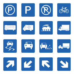 Square blue road signs