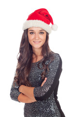 Attractive brunette girl with Christmas hat