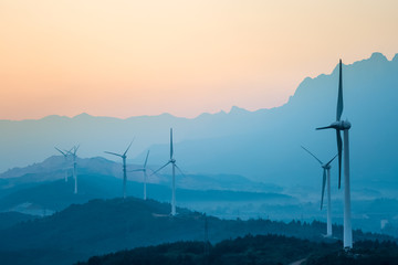 wind farm in twilight