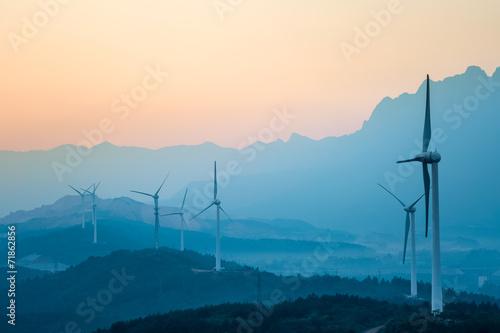 wind farm in twilight - 71862856