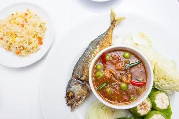 Mackerel ,  nam phik krapi Thailand location food with shrimp pa