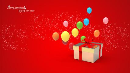 gift box and balloons