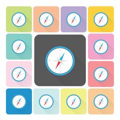 Compass Icon color set vector illustration