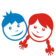 children, blue and red faces