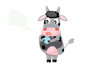 Vector illustration of happy cartoon cow with milk.