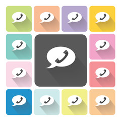 Bubble phone Icon color set vector illustration