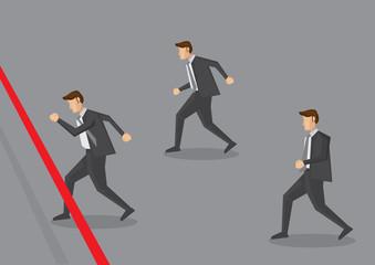 Businessman Running to Finish Line Vector Illustration