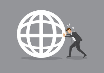 Businessman Pushing a Globe Symbol