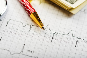Dollars, stethoscope and cardiogram. Costs for the medical insur