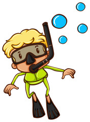 A drawing of a boy snorkeling