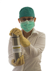 medic carries a container of Ebola