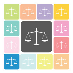 Scales of justice Icon color set vector illustration